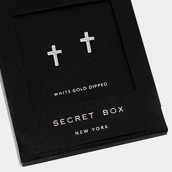 White Gold Dipped Cross Stud Earrings With Secret Box