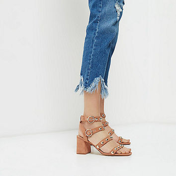 Beige stud block heel sandals - sandals - shoes / boots - women