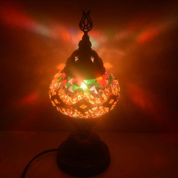 Turkish Lamp, Moroccan Lamp, Moroccan, Lantern, Table Light, Night Shade, Mosaic Glass,Multicolor Lamp,Multicolor Table Lamp