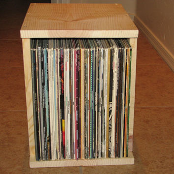 Solid Wood Stackable Vinyl Record Storage Box