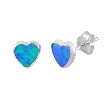 Blue-Green Opal Heart Stud Earrings 6mm Sterling Silver 925