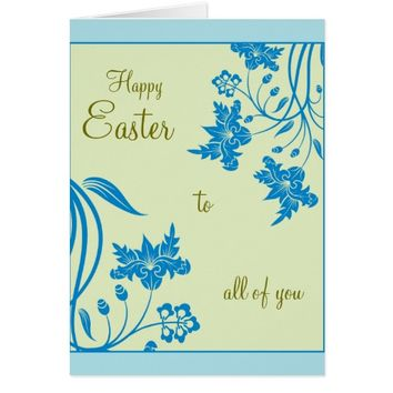 Easter Blue Floral Greeting Card