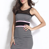Backless with Fishnet Detail Mini Dress in Dogtooth Print