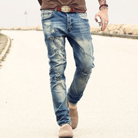 new men's jeans Ripped Holes pants Korean style elasticity casual trousers cool stretch man denim pants 2016 spring and summer