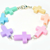 Kawaii Fairy Kei Pastel Goth Multicolored Cross by blacktulipshop