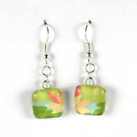 Smooth Glass Tile Earrings - Water Lily Motif