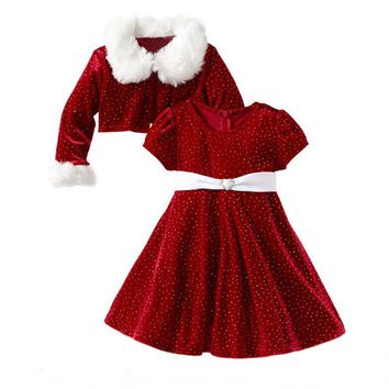 Children Christmas Clothing Set Toddler Girls Santa Claus Costumes Jacket Coat+Dress Two-piece Suit Kids Halloween Clothes