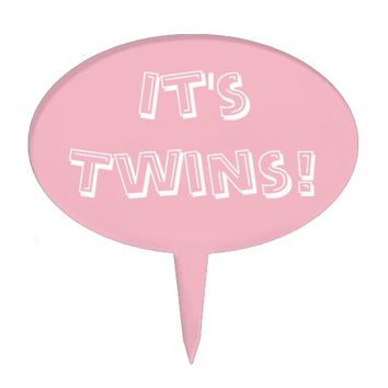 Girl Twins Baby Shower Pink Cake Topper