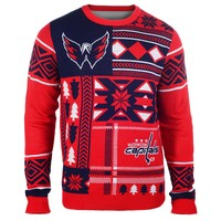 Washington Capitals NHL 2015 Patches Ugly Crewneck Holiday Sweater