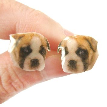 Realistic Boxer Puppy Dog Face Shaped Animal Resin Stud Earrings | Made To Order | Handmade