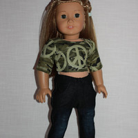18 inch doll clothes, green camo print crop top, dark wash distressed bleached skinny jeans, american girl ,maplelea