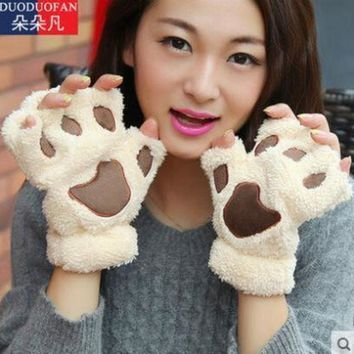 2016 Free Shipping Fluffy Bear/cat Plush Paw/claw Glove Novelty Halloween Soft Toweling Half Covered Women's Gloves Mittens