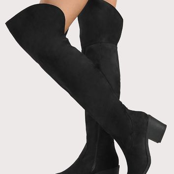 Zip Up Round Toe Faux Suede Thigh High Boots BLACK