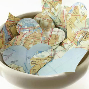 100 Map Page Hearts, Map Hearts, Vintage Paper Hearts, Recycled Hearts, Travel Theme Wedding, 1 7/8 x 1 1/2""