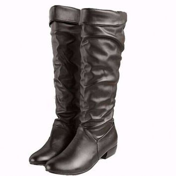 Knee High Plush Leather Motorcycle Winter Boots