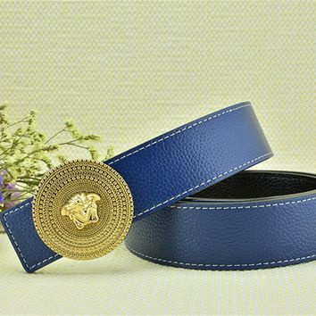Versace Collections Men Versace Litchi Stria Belt Blue Leather Gold Buckle Stainless Adjustable Cut To Fit