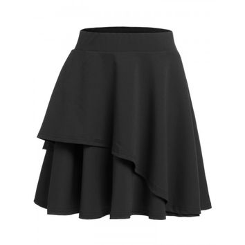 Women High Waisted Solid Asymmetrical Hem Pleated Mini Skater Skirt