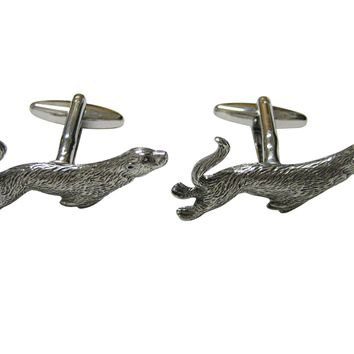 Silver Toned Textured Sea Lion Cufflinks