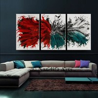 """Abstract Modern Art Original Painting on Canvas, Red Contemporary Art 72"""" Abstract Home Decor, Turquoise Large Wall Art by Nandita Albright"""