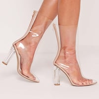 Perspex Clear Heel Ankle Boots