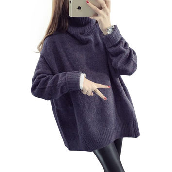 H.SA 2016 Sweaters Women Winter Jumpers Turtleneck Oversized Sweater Knitted Burderry Femme Pull Korean Loose Sudaderas