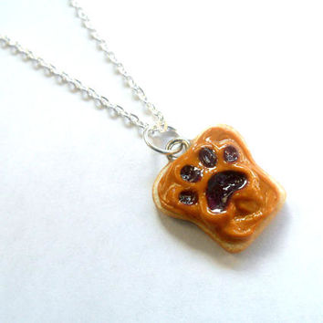 Peanut Butter and Jelly Dog or Cat Paw Necklace, Choose To Customize With Pet's Name on Back :)