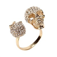 Double Golden CZ Skull Ring @ Inspired Silver