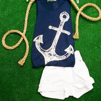 ON THE WATER SEQUIN ANCHOR TANK IN NAVY