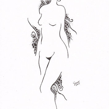 Black and white nude drawing. A4 size (21x29.7 cm / 8.3 x 11.7'') original artwork.