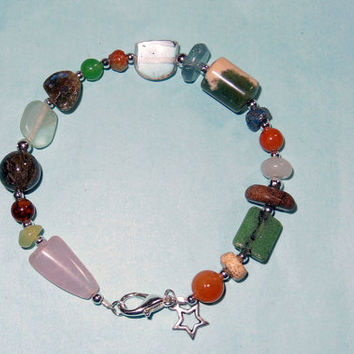 Mixed Stone Beaded Bracelet with Star Charm