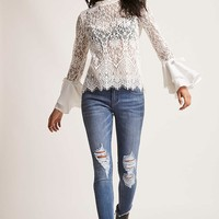 Sheer Lace Bell-Sleeve Top
