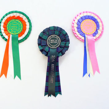 Vintage Award Ribbon Rosette England Banner Bunting Display
