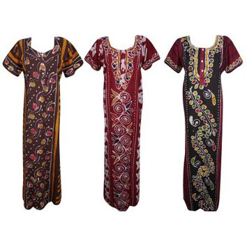 Mogul Lot Of 3 Womens Sleepwear Comfy Caftan Maxi Dress Printed Cotton Short Sleeves Evening Wear Kaftan Nightgown Nightdress L - Walmart.com