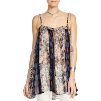 Free People Womens Fathered Floral Print Casual Top
