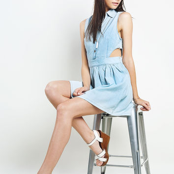Side Cut-Out Denim Dress