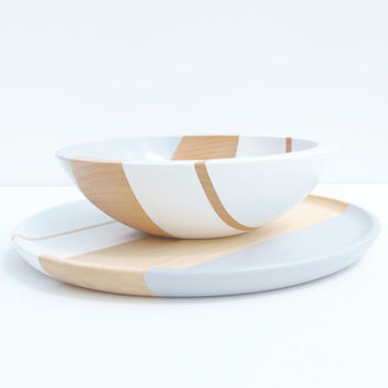 Modern Pastel Hardwood 7 Bowl Ice/Dove Gray by nicoleporterdesign