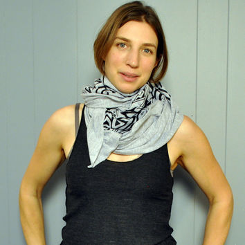 Geometric Tribal Scarf - Heather Grey American Apparel // Womens Scarf Mens Scarf  - Accessories Fashion