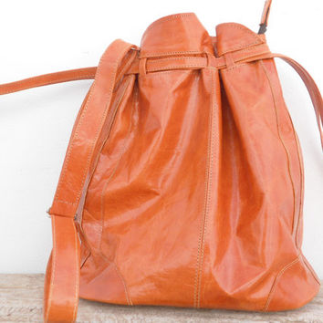 Caramel Natural Leather Bucket Bag, Shoulder Shopping Tote Crossbody Women Soft Leather Bag