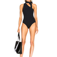 Zimmermann Jaya Tie Neck Swimsuit in Black | FWRD