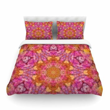 "Justyna Jaszke ""Mandala Pink Joy"" Pink Orange Abstract Pattern Digital Illustration Featherweight Duvet Cover"