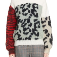Toga Colorblocked Animal Jacquard Sweater | Nordstrom