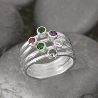 Mothers Day Sale Birthstone Ring - Mother's Ring - Family Ring - Birthstone Jewelry - Grandmother's Ring - Colored Gemstones