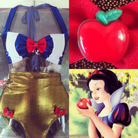 Once bitten Snow White pinup high waisted bathing suit (made to order)