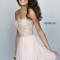 Sherri Hill Sweetheart Strapless Flower Beaded Chiffon Circle Skirt Short