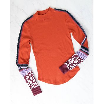 Free People - Switch It Up Cuff Thermal Top In Red