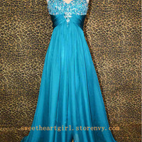 Sweetheart A-line blue rhinestones prom dress