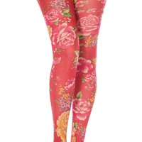 Blooming Flowers Patterned Pantyhose
