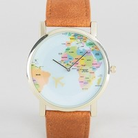 ASOS Watch With Map Print In Tan at asos.com