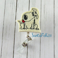 Dog Felt Badge Holder with Retractable Badge Reel hand crafted by SantaFeKiss