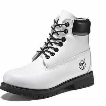 PEAPON Timberland Rhubarb Boots 10061 Black White Waterproof Martin Boots
